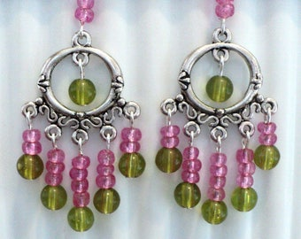 Chandelier Earrings, Summer Earrings, Pink and Green, Shabby Chic Earrings, Summer Jewelry, Shabby Chic Jewelry - WATERMELON BLISS