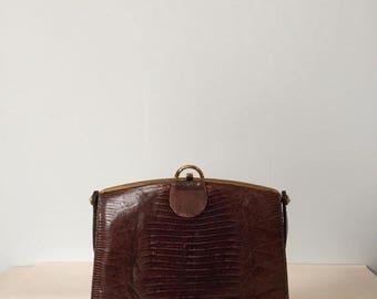 40% OFF SALE... 1940s crocodile leather bag   framed kiss lock handbag