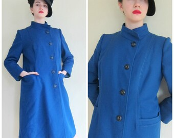 Vintage 1960s Blue Winter Coat / 60s Button Down Coat Quilted and Warm / Large