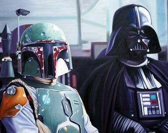 Star Wars Boba Fett Darth Vader oil painting on canvas, pop art, 24x32 inch, 100% money back guarantee