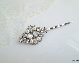 Pearl Hair Pin Bridal Hair Pin Swarovski Hair Pin Pearl Rhinestone Hair piece Bridal Pearl Hair accessory Bridal Rhinestone Hair Pin GABY