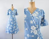 1940s Victorian Rose waffle cotton floral dress / 40s robin's egg