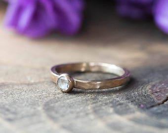 Unique Hammered Round Cut Engagement Ring 14k gold & Diamond Womens Wedding Ring Wabi-Sabi Rustic Ring Rose Cut Diamond Unique Engagement
