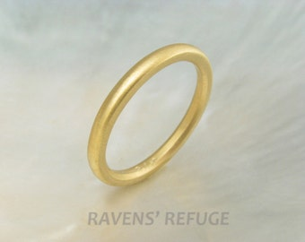 21k yellow gold domed wedding band / stacking ring, 2mm classic half round wedding ring