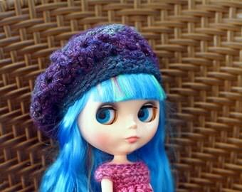 Lace Blythe Doll Beret, Purple Blythe Slouchy Hat, Doll Slouchy Beret, Purple Doll Hat, Blue Beret for Blythe Dolls, Crochet Blythe Hat