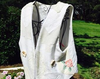 Wearable Collage Ladies Vest, Vintage Textile Applique, Antique Recycled Material, Reversible