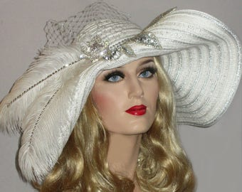 DOWNTON DERBY SPECTATOR- Silver Bling & White Kentucky Derby Hat, Extra Wide Brim Derby Hat, White Downton Abbey Hat, Wedding Picture Hat