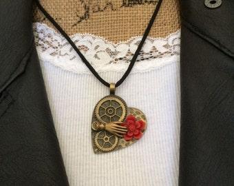 Brass Steampunk Hammered Gear Heart Necklace, Brass Heart Necklace, Steampunk Necklace, Steampunk Jewelry, Gear Jewelry, Heart Necklace,