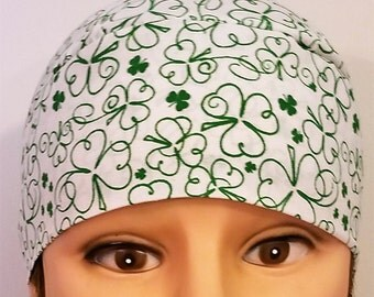 Handmade White with Green Shamrocks Skull Cap or Chemo Cap, Surgical Cap, Hair Loss, St.Patrick's Day, Motorcycle, Do Rag, Head Wrap, Liner
