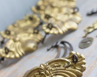 Antique Dresser Drawer Pulls, Vintage Chest Hardware, Old Gold Tin Metal,