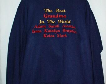 Grandma Sweatshirt, Custom With Eight Names, Grandparent Gift For Mammie, Grannie, Grams, Gran, Abuelita, Popser, No Shipping Fee, AGFT 855