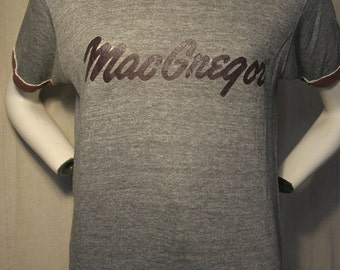 70's/80's MacGregor golf heather grey super soft perfectly broken-in athletic sports tri-blend ringer - men's sz M/L