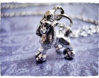 Silver Poodle Necklace - Silver Pewter Poodle Charm on a Delicate Silver Plated Cable Chain or Charm Only
