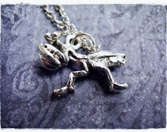 Silver Praying Mantis Necklace - Silver Pewter Praying Mantis Charm on a Delicate Silver Plated Cable Chain or Charm Only