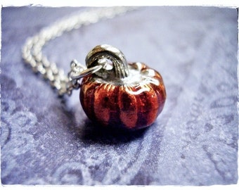 Orange Pumpkin Necklace - Orange Enameled Antique Pewter Pumpkin Charm on a Delicate Silver Plated Cable Chain or Charm Only
