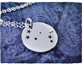 Silver Gemini Constellation Necklace - Sterling Silver Gemini Constellation Charm on a Delicate Sterling Silver Cable Chain or Charm Only