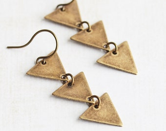 Brass Triangle Earrings, Antiqued Brass Dangle Earrings, Three Triangle Drop Earrings, Modern Jewelry, Everyday Earrings, Geometric Jewelry