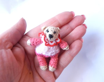Miniature Crochet Bear   with dress