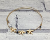 Boho natural starfish anklet starfish anklet natural string anklet gemstone anklet gemstone ankle bracelet beach jewellery bohemian