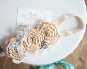 Champagne Vintage Beauty - Champagme Satin Rosettes Headband with Vintage Embellishment -Peek-a-boo Birdcage Veiling