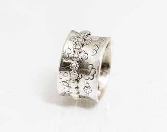 Spinner Fidget Ring Sterling Silver Daisy Spinner Size 7 or Made to Order