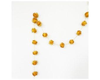 Vintage Glittery Yellow Pom Pom Garland