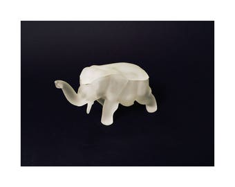 Vintage Frosted White Glass Elephant Box