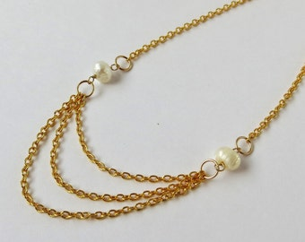Multi Strand Necklace Pearl Gold Necklace Set, Multi Strand Gold Necklace, Layered Necklace Gold Pearl Necklace, Multistrand Pearl Necklace