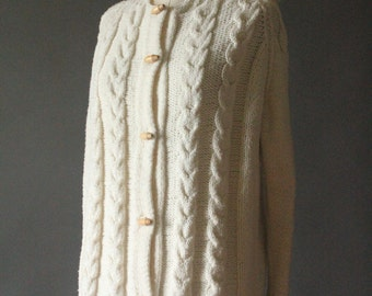Vintage 70's Handmade White Cable Knit Button Up Hooded Cardigan Fishermans Sweater