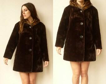 1960's Vintage Faux Fur Princess Swing Coat With Fur Collar Size M/L