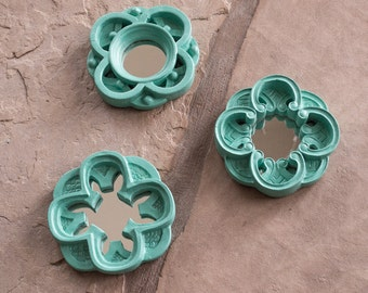 Wall Mirrors Three Small Round Hand Painted in Coastal Cottage Seafoam Blue Green