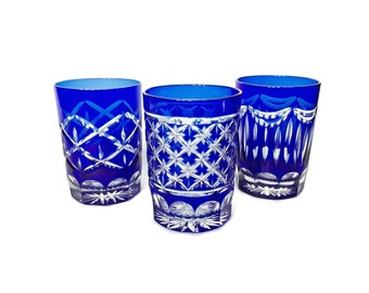 Blue Glass Barware 3 Small Cobalt Blue Bohemian Glass Tumblers / Cut Glass Whiskey Glasses / Liqueur Glasses Blue cut to Clear