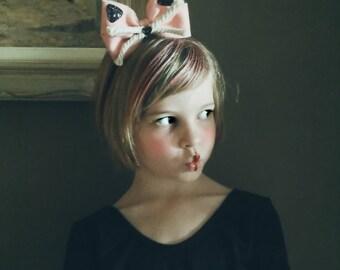 Oversize Hair Bow with Kitty Cat Detail, Glitter Headband, giddyupandgrow