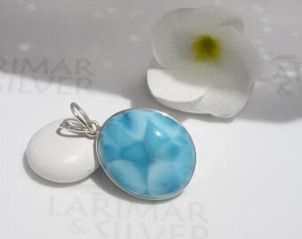 Larimar pendant from Larimarandsilver, Mermaid Cameo - Caribbean blue Larimar oval, blue pendant, turquoise cameo, handmade Larimar pendant