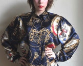 80s Silky Ornamented Blouse French vintage poster print Navy blue gold red Baroque decorative Blouse size M L