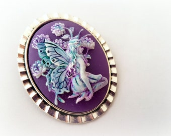 Purple fairy cameo brooch, whimsical jewelry, magical girl