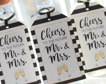 Wedding Favor Tags, Bridal Shower Favors, Mini Champagne Tags, Personalized Wine Bottle Favors, Cheers to the Future Mr & Mrs - Set of 12
