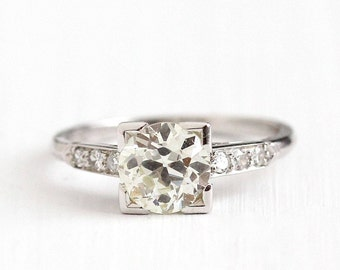 Antique Platinum Art Deco 1.01 CTW Diamond Ring - Size 4 1/2 1930s Vintage Fine Old European Engagement Bridal Wedding Jewelry w/ Appraisal