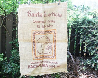 Vintage Burlap Coffee Bag, Santa Leticia, El Salvador , Double sided print, Heavy Weight Jute Woven Coffee bag,