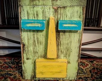 Table Top Tiki Man, Wood Sculpture, Primitive Decor, Secret Compartment