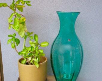 Blenko Hand Blown Art Glass Floor Vase Mid Century Modern   art glass Sea green sticker