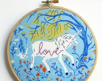 Modern Hand Embroidery Hoop Art. Unicorn Art. Embroidered Hoop. Nursery Decor. Light Blue, Floral Unicorn Embroidery. Stitched Text.