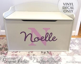 Personalized Toy Box Monogram Decal, Name & Initial for Baby Nursery Decor, Toy Chest Removable Vinyl Decal, Shown: Noelle (0173a321v-r3c)