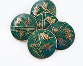 Cloisonne Inaba Shank Buttons in Green and Gold, Japan