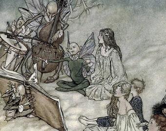 And a Fairy Song, Arthur Rackham, Vinatge Art Print