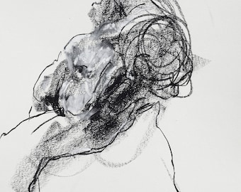 """Gestural and Dynamic Figure Drawing - Figure 10 - 9 x 12"""" charcoal and pastel on paper - original drawing by Derek Overfield"""