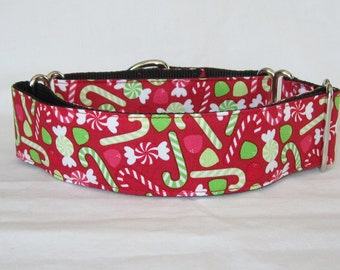 Holiday Goodies Martingale Dog Collar - 1.5 or 2 Inch - fun christmas candy gum drops cane peppermint red green
