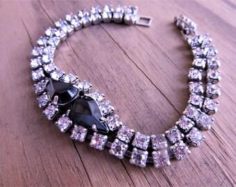Vintage Bridal Brilliant Rhinestone Bracelet Black and Clear Glass Rhinestones