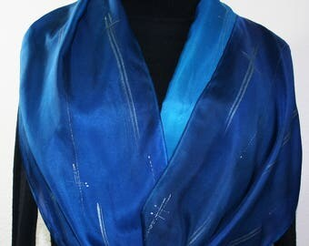 Blue Handmade Silk Scarf. Turquoise Hand Painted Silk Shawl STARRY NIGHT. Size 11x60. Birthday Gift. Mother Gift. Bridesmaid Gidt. Hand Dyed
