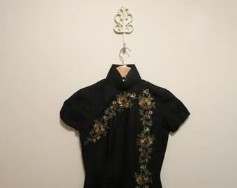 Dress Cheongsam pencil wiggle rockabilly black SILK embroidery floral peacock XS